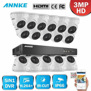 Annke 16 Channel Security System: 1080P HD 5-in-1 DVR, 16 x 3MP Dome Cameras