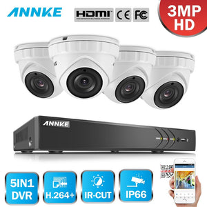 Annke 8 Channel Security System: 1080P HD 5-in-1 DVR, 4 x 3MP Dome Cameras