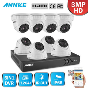 Annke 8 Channel Security System: 1080P HD 5-in-1 DVR, 8 x 3MP Dome Cameras