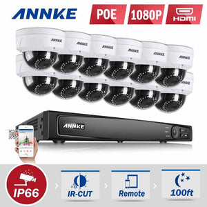 Annke 16 Channel Security System: 6MP Super HD NVR, 12 x 2MP Dome Cameras