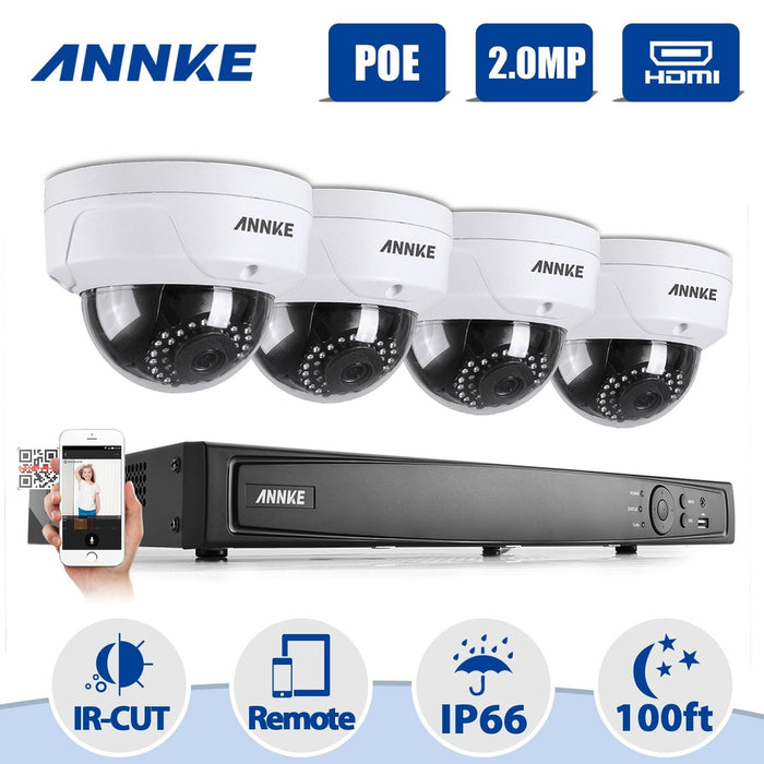 Annke 8 Channel Security System: 6MP Super HD NVR, 4 x 2MP Dome Cameras