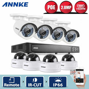 Annke 8 Channel Security System: 6MP Super HD NVR, 4 Bullet Cameras & 4 Dome Cameras