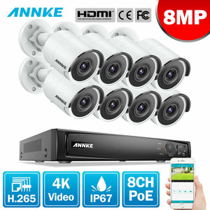Annke 8 Channel Security Kit: 8MP NVR, 8 X 8MP(4K Ultra HD) Bullet Cameras