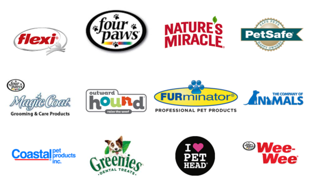 Pet Product Brands such as nature's miracle, coastal pet, greenies