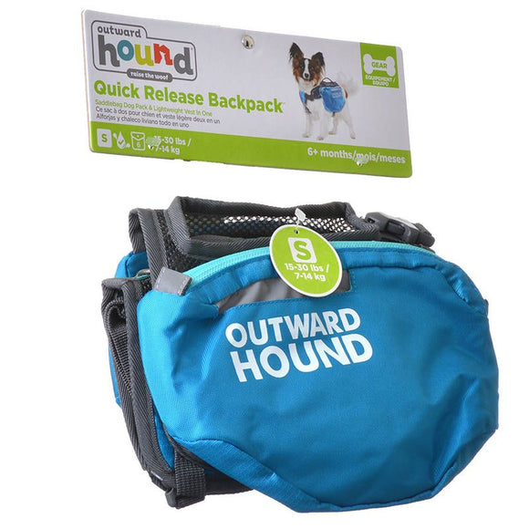 Outward Hound Quick Release Dog Backpack - Blue & Black