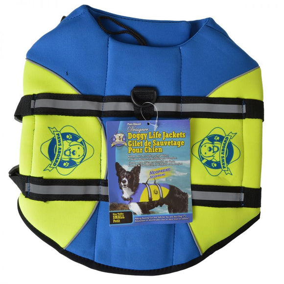 Paws Aboard Neoprene Designer Doggy Life Jacket - Blue & Green
