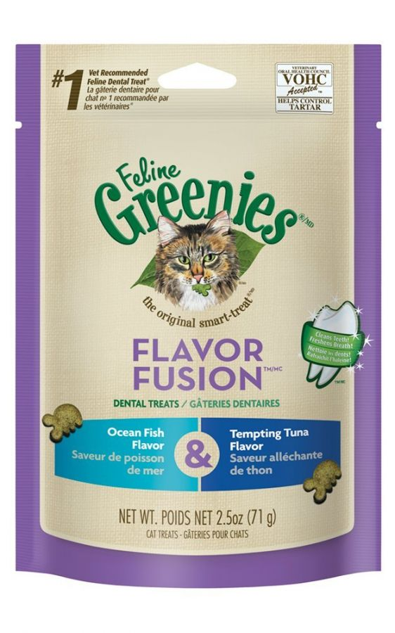 Greenies Feline Flavor Fusion Dental Treats - Ocean Fish & Tuna Flavor
