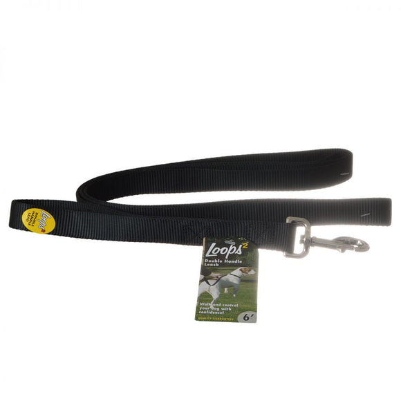 Loops 2 Double Nylon Handle Leash - Black