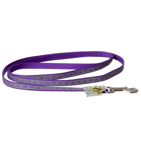 Lazer Brite Reflective Open-Design Dog Leash - Purple Daisy