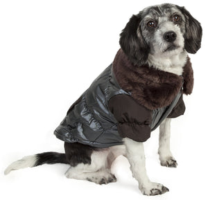 Ultra Fur 'Track-Collared' Metallic Pet Jacket