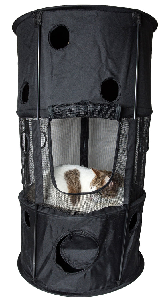 Pet Life Climbertree Circular Obstacle Play-Active Travel Collapsible Travel Pet Cat House