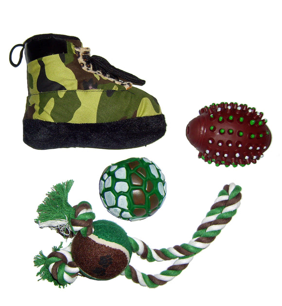 4 Piece Hunter Camouflage Themed Pet Toy Set