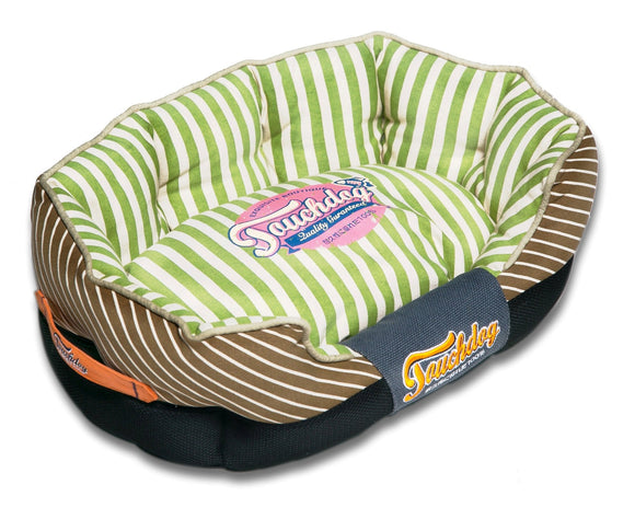 Touchdog Neutral-Striped Ultra-Plush Rectangular Rounded Designer Dog Bed