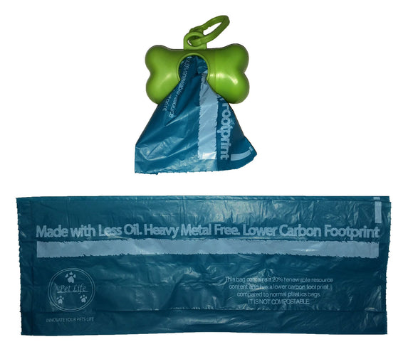 100% Recyclable Bio-Hybrid Thermoplastic and Polyethylene Carbon Reduced Eco-Friendly Pet Waste Bags from Renewable Thermoplastic Starch - Dispenser and 2 Pack of Rolls