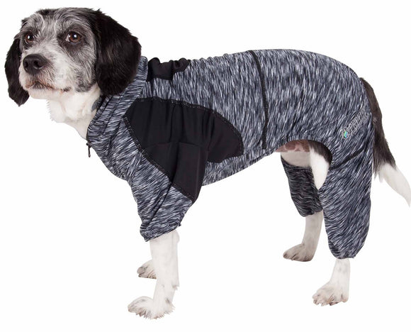 Pet Life ?? Active 'Downward Dog' Heathered Performance 4-Way Stretch Two-Toned Full Body Warm Up Hoodie - Yip & Purr?? Official Website