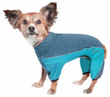 Pet Life ® Active 'Chase Pacer' Heathered Performance 4-Way Stretch Two-Toned Full Body Warm Up