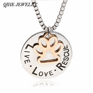 """LIVE LOVE RESCUE"" Dog Paw Claw Print Tag Silver Pendant Necklace - Yip & Purr® Official Website"