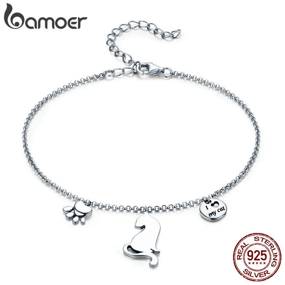 BAMOER Hot Sale 100% 925 Sterling Silver Naughty Cat Pet Footprints Chain Women Bracelet Sterling Silver Jewelry Gift SCB070 - Yip & Purr® Official Website
