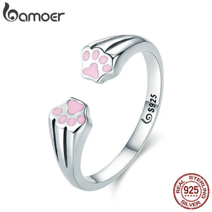 BAMOER New Collection 100% 925 Sterling Silver Animal Pet Dog Cat Footprints Finger Ring for Women Engagement Jewelry SCR366 - Yip & Purr® Official Website