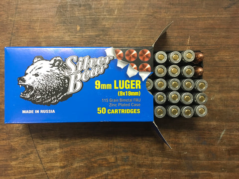 Silver Bear 9mm Luger 115 grain FMJ x 500 rounds