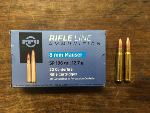 PPU 8mm Mauser 196 Grain SP x 100 rounds