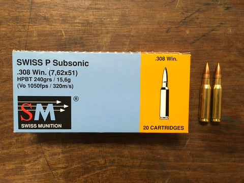 Swiss P Subsonic .308 Win 240 gr. x 100 rounds