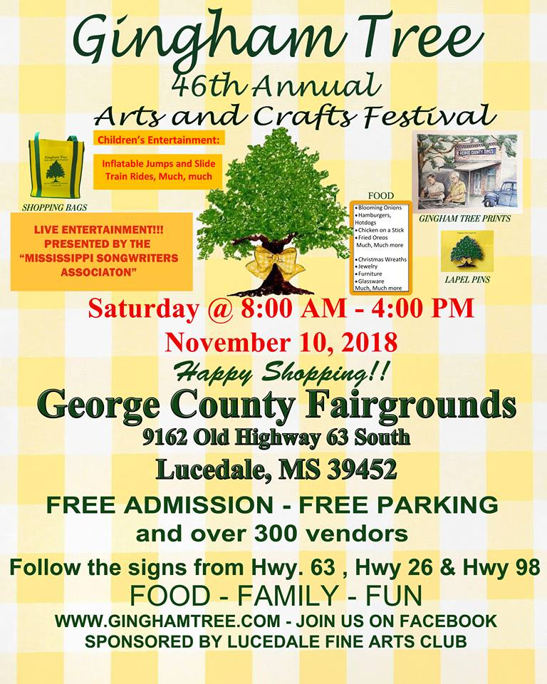 Join us at Gingham Tree Arts and Crafts Festival Saturday November 10th 8am - 4pm