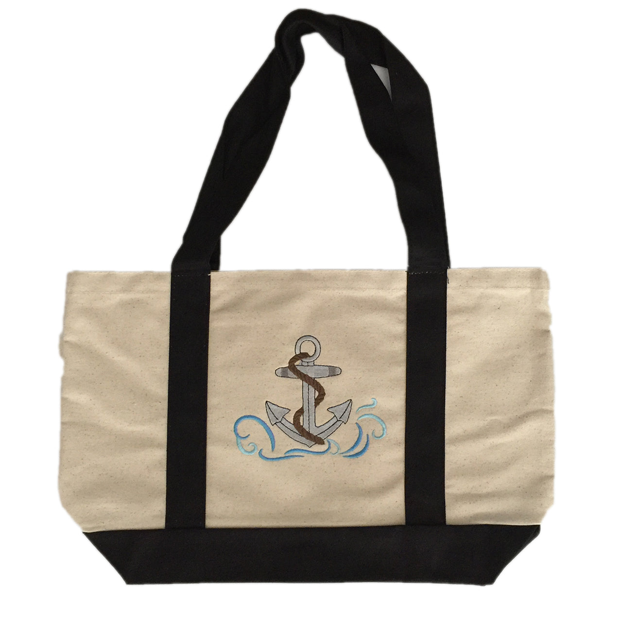 Anchor  Embroidered cotton canvas tote bag with black handles