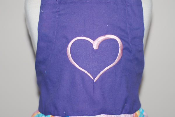 Rainbow fabric with heart on purple
