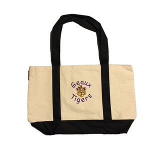 LSU Geaux Tigers  Logo embroidered  on a black handled canvas bag