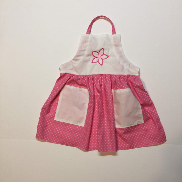 Nostalgic light pink dotted apron with embroidered pink flower