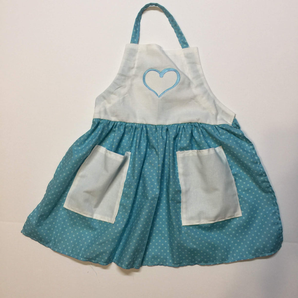 Light blue dotted apron with embroidered blue heart