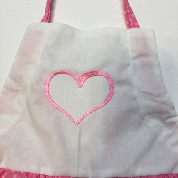 Pink  dotted apron with embroidered pink heart