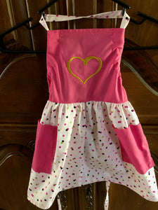 Multi Colored dotted apron with embroidered gold heart