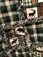 Deer and Moose and Green Plaid 40x40