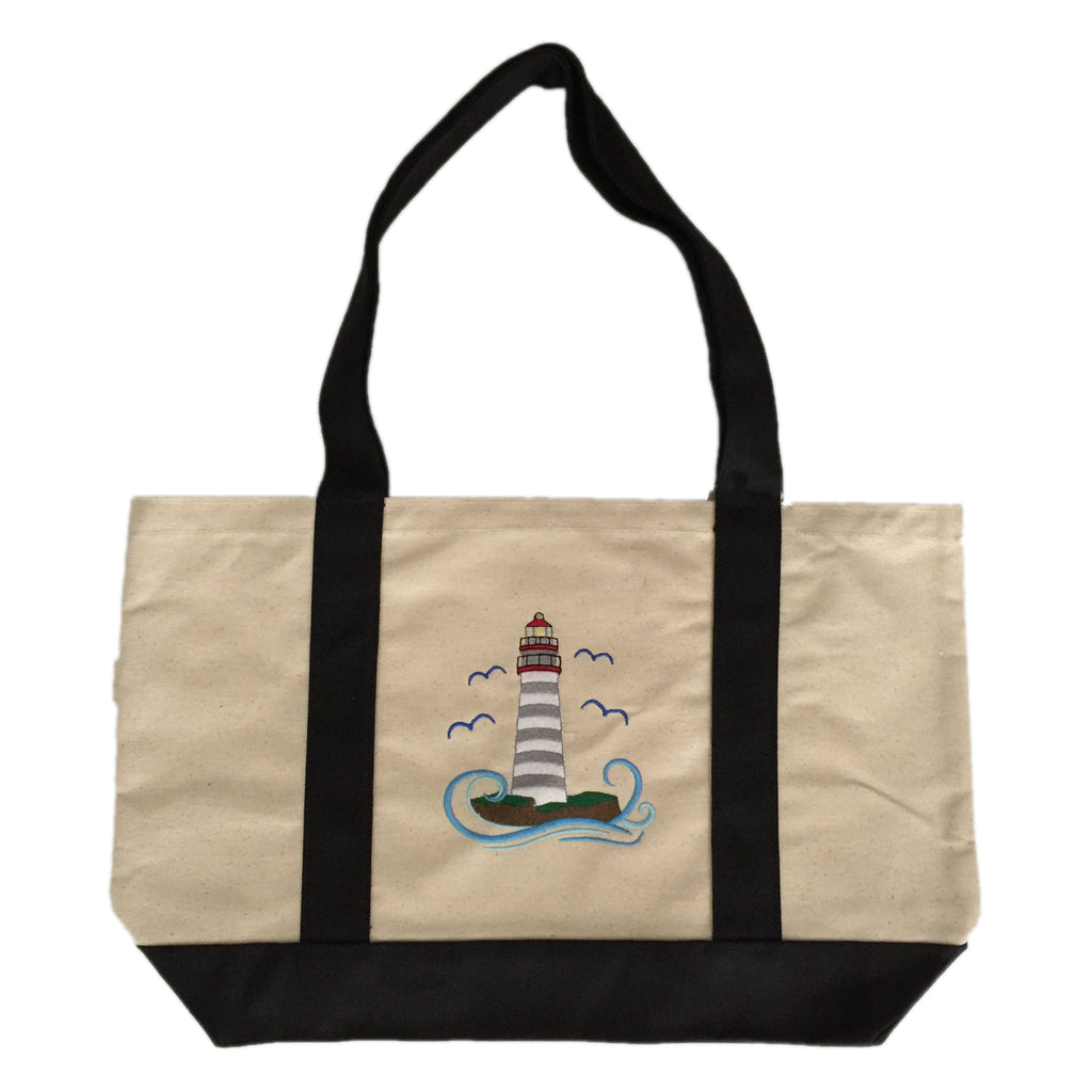 Light House  Embroidered cotton canvas tote bag with brown or Black handles