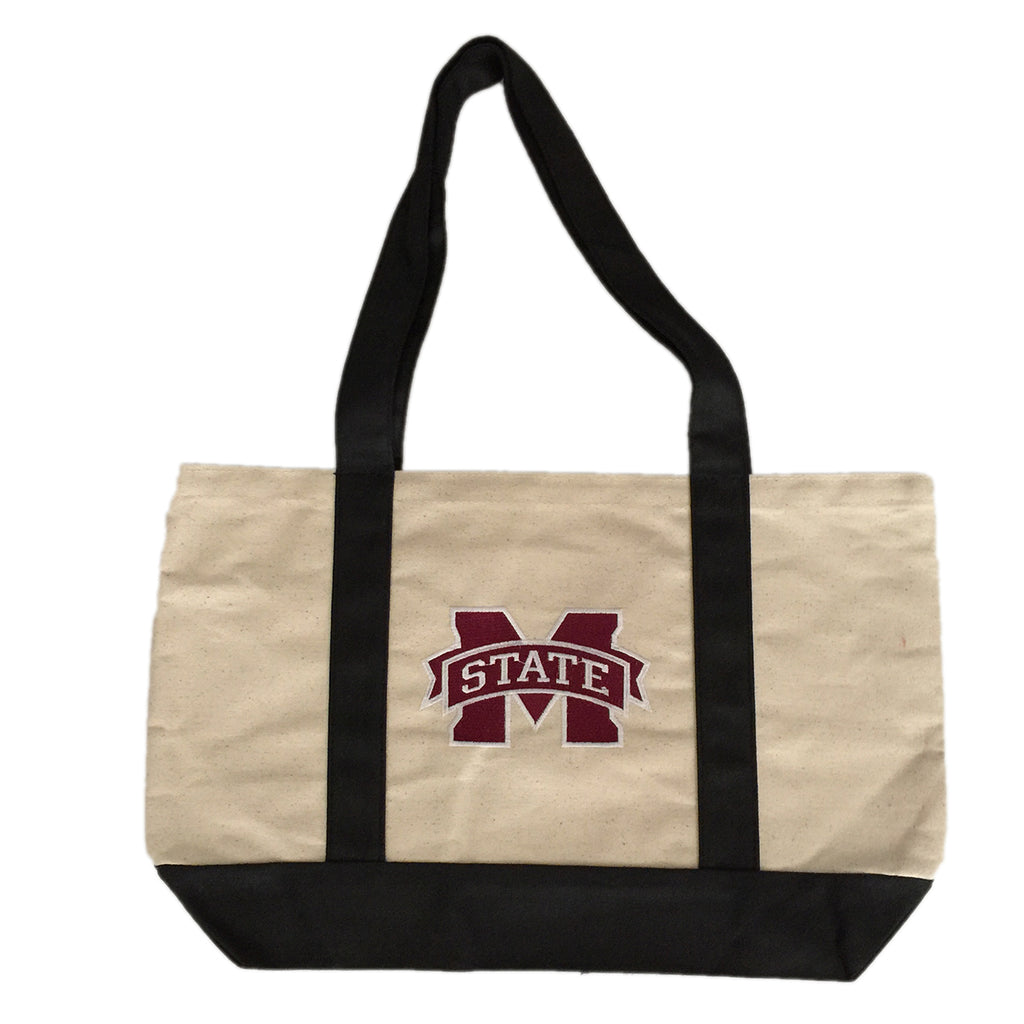 Mississippi State Tote bag with Logo embroidered  on a black handled canvis bag