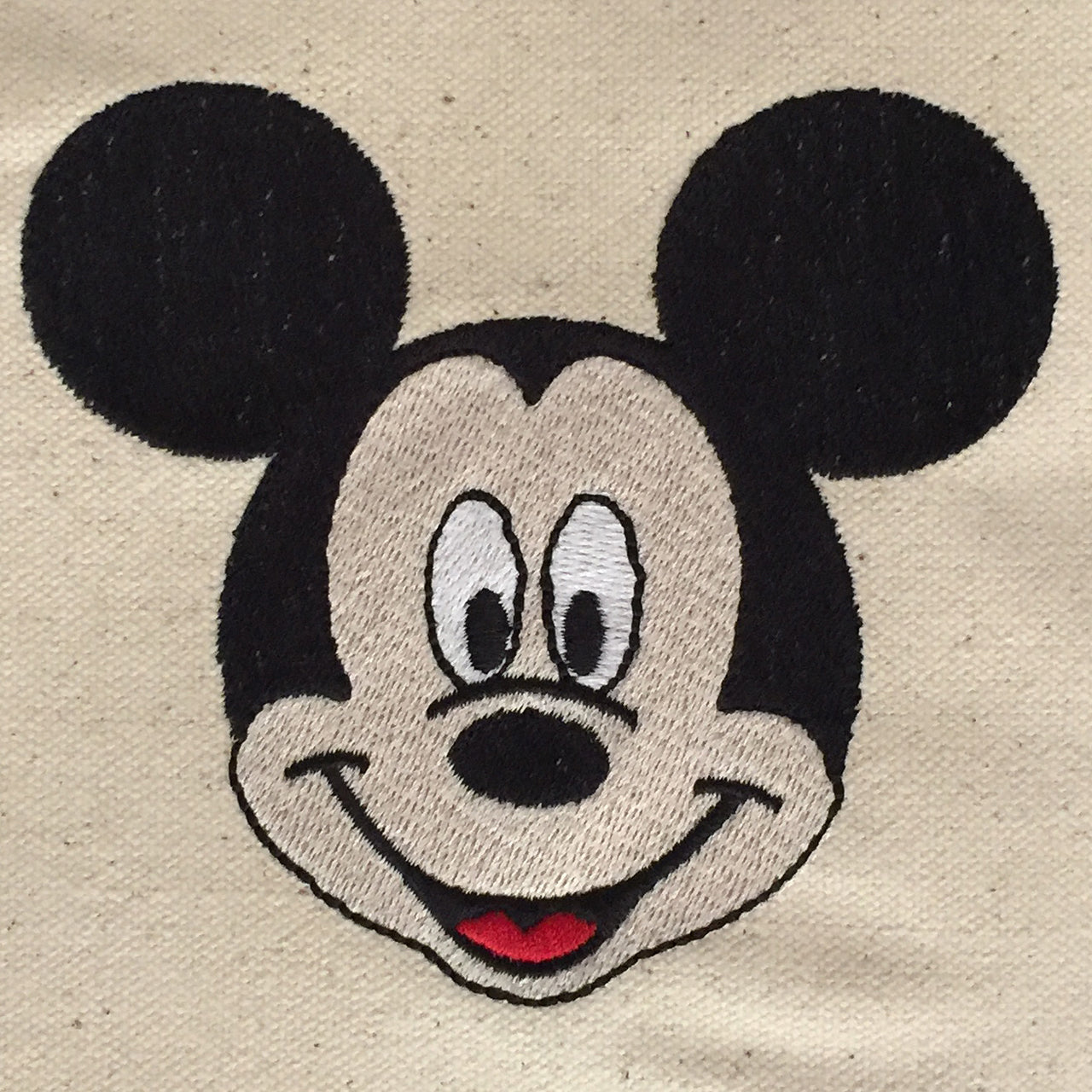 Mickey Mouse embroidered on  Tote bag with blue handles