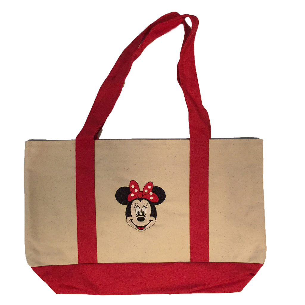 Minnie Mouse embroidered on  Tote bag with red handles