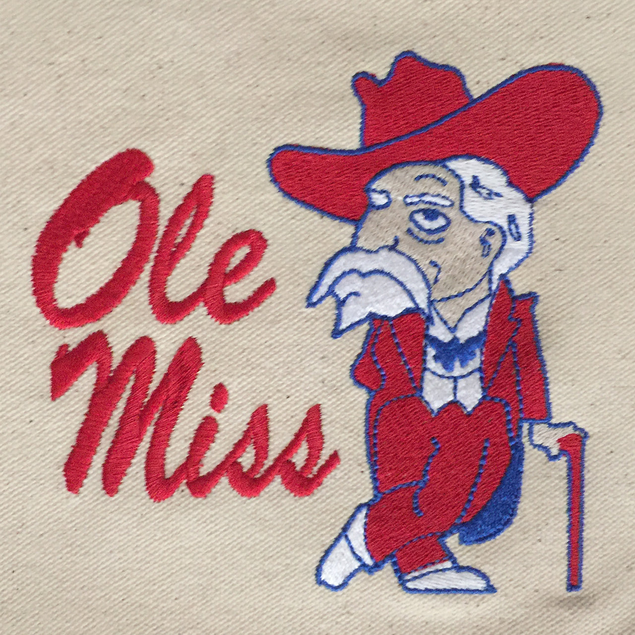 Ole Miss Rebel embroidered on  Tote bag with red handles
