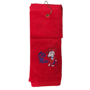 Ole Miss Rebel Embroidered on Deluxe Tri-Fold Golf Towel
