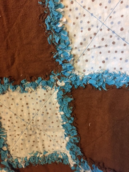 "Blue and Brown Polka Dot  39""x 39"""
