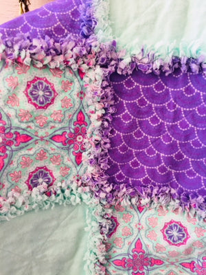 "Pink, Teal and Purple Design 39"" x 39"""