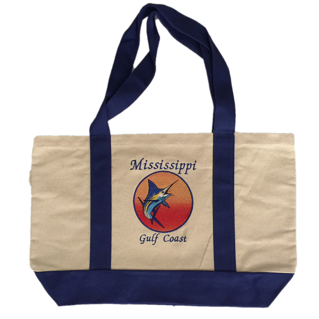 Beach Tote Bag with Mississippi Gulf Coast Sailfish embroidered