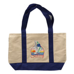 Sail Boat  embroidered on cotton canvas tote bag