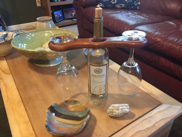 Over the bottle Wine glass holder ( Oak)