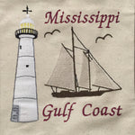 Beach Tote Bag with Mississippi Light House and Schooner embroidered on one side