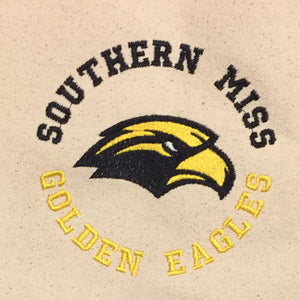 USM Southern Mississippi Golden Eagles embroidered on tote with black handles