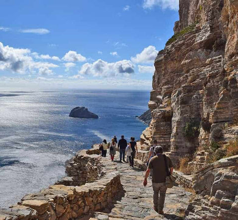 Walk the path from the village of Tholaria to the village of Langada in Amorgos, Greece