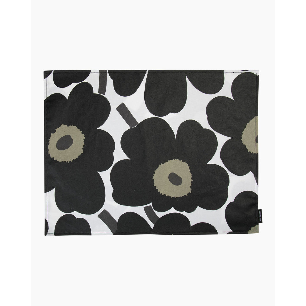 Black Pieni Unikko Acrylic Coated Cotton Placemat